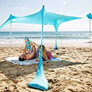 SUN NINJA Tienda de campaña de playa emergente UPF50+ con pala de arena, clavijas de tierra y postes de estabi