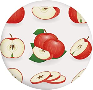 "Stain Resistant Elastic Edged Table cover,Yummy Chopped Apple Slices Juicy Fresh Fruits Delicious Nature Illustration Tablecloth,Fits Round Tables 40-44"",Protection for Your Table Cream Scarlet"