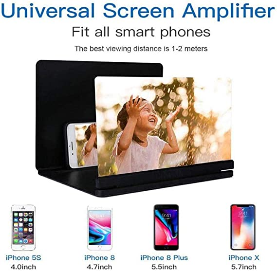 Smart Phone Universal HD Screen Amplifier Folding Stand 3D Chase Drama Watching Artifact Anti-Fatigue Black 16.710.7cm,Beautiful Qiyuezhuangshi Mobile Phone Screen Amplifier