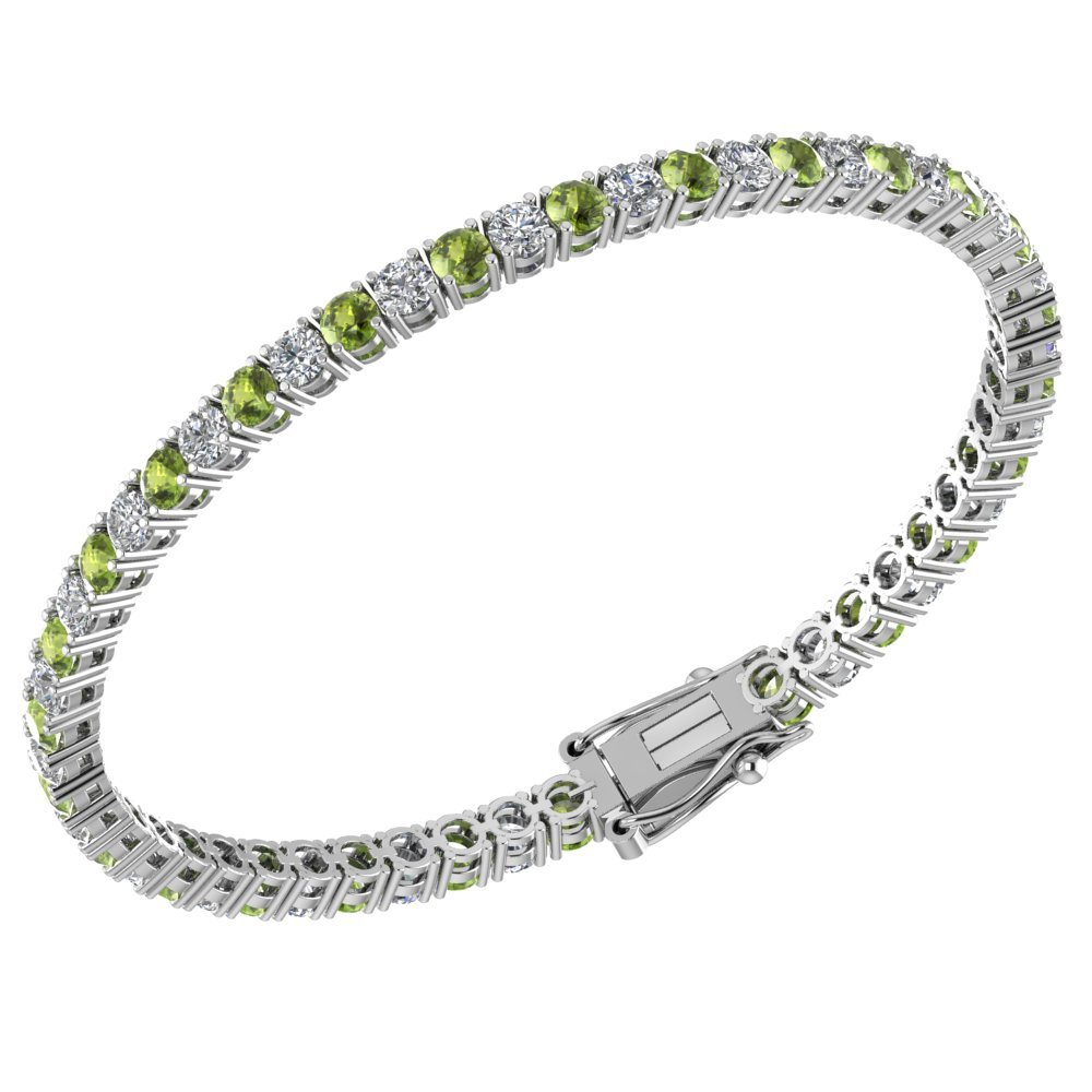 3mm Solid Sterling Silver Peridot and White Topaz 5.9CTW High Polished Tennis Bracelet with Box Clasp