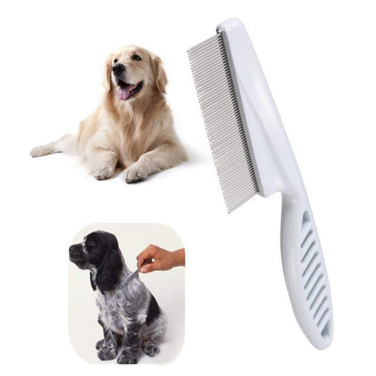 Sairis High Comfort Head Lice Comb Metal Nit Head Hair Lice Comb Fine Toothed Flea Flee with Handle For Kids Pet Tool-white