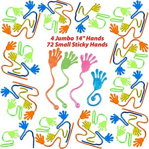 Mr. E=mc2 Sticky Hands (72) Plus Bonus 4 Extra Large Slappy Hands | 76 Piece Bulk Party Favors for Boys and Girls | Stretchy Toys, Fidget Toys for Sensory Kids, Goody Bag Fillers