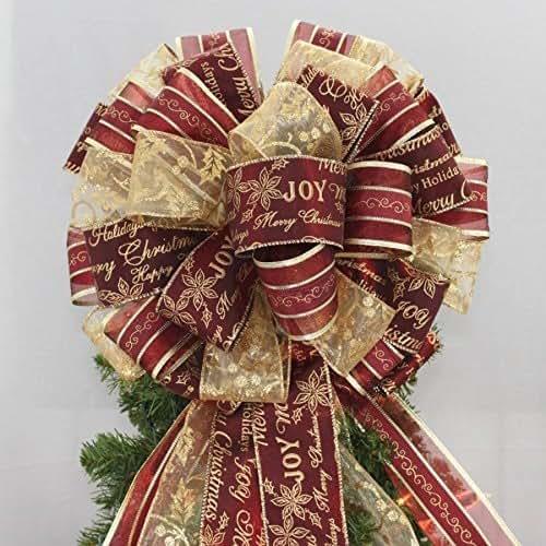 Amazon.com: Burgundy Gold Script Christmas Tree Topper Bow ...