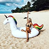 Inflatable Unicorn Giant Floating Bed Pool PVC Ocean Star General Adult Children Swimming Ring Water Recreation Leisure Chair Sports Outdoor Toy Raft Lounger (275 * 120 * 140cm)