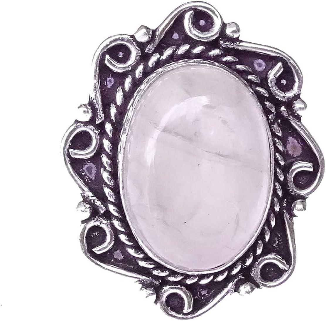 India Jewel Store Trabajo de Filigrana Fina Auténtico Anillo de Piedras Preciosas de curación de Cuarzo Rosa para Mujer Anillo de Moda de joyería gótica étnica Moderna Plateada a Mano única