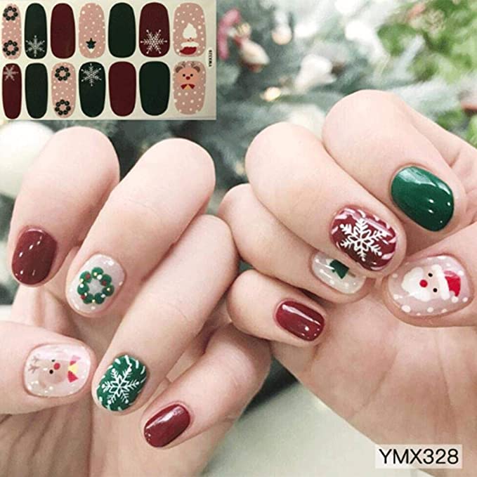 zezego Etiqueta engomada del arte del clavo Etiqueta engomada del esmalte de uñas DIY Etiqueta engomada del clavo Joyería de manicura de Navidad ...