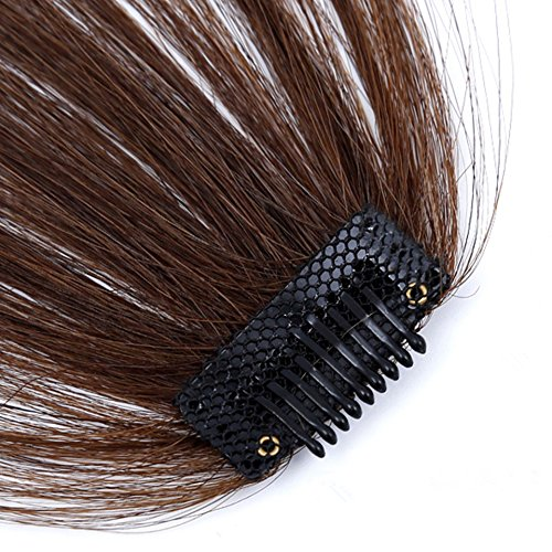 HIKYUU Bangs Hairpiece Clip-in Front Straight Hair Bangs Extensions without Temples Natural Black 100% Real Remy Human Hair Natural Looking by HIKYUU (Image #4)