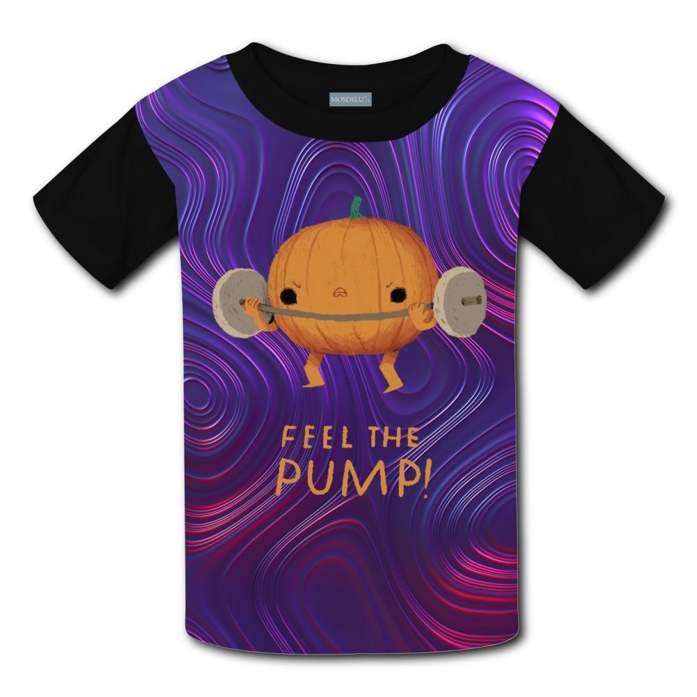 Aslgisy Funny Weight Lifting Pumpkin Casual T-Shirt Short Sleeve for Kids