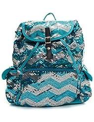 N.Gil Chevron Sequin Backpack Aqua