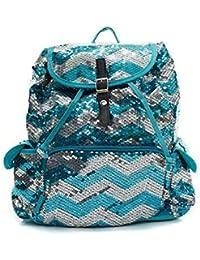 Chevron Sequin Backpack Aqua