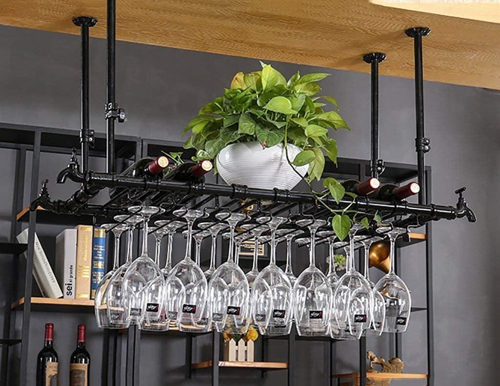 ワインラック ハンギング赤ワインカップホルダー ハンギング逆ガラスホルダー クリエイティブメインロッド ワインラックハンギングガラスホルダー(サイズ:100 x 30 cm)、120 * 30 cm