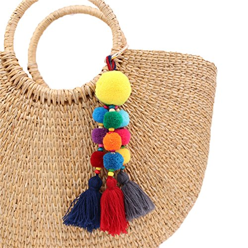 QTMY Colorful Pom Pom Tassel Long Bag Charm Pendant Keyring Keychain for Women Purse Handbag Decor