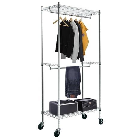 HLC Perchero,con ruedas estante y barra ajustable para organizar ropa, 195 * 91 * 45 cm