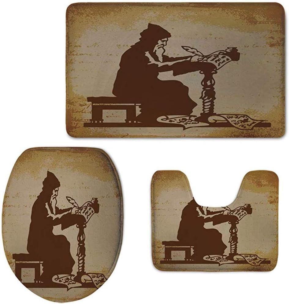 c-sky Alfombrilla de baño Set 3 Piezas, Viejo Monje escribiendo una corónica de Eventos Ilustración del Pasado Retro ...