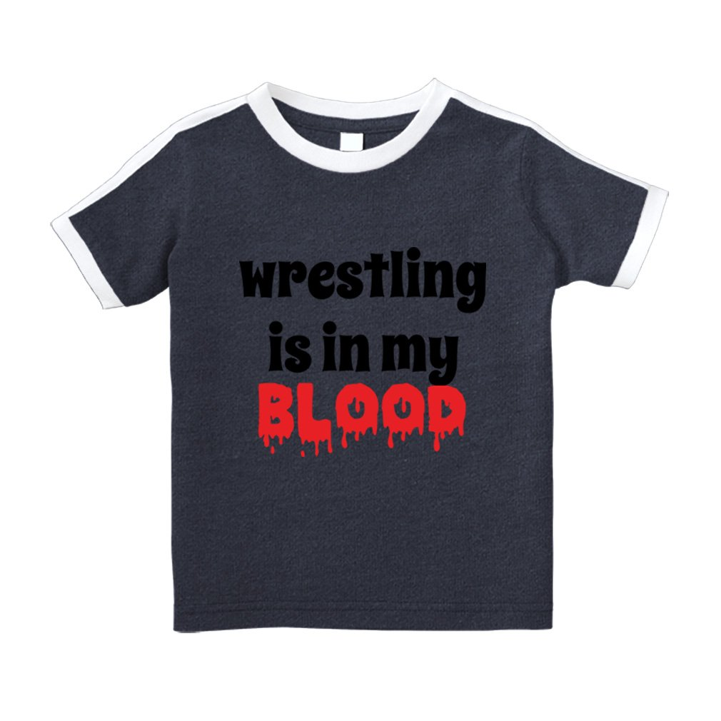 Wrestling is in My Blood Sport Cotton Short Sleeve Crewneck Unisex Toddler T-Shirt Soccer Tee - Navy, 4T by Cute Rascals