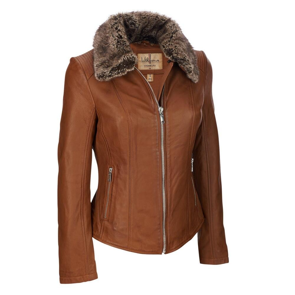 Wilsons Leather Womens Vintage Leather Scuba W/Faux-Fur L Toffee