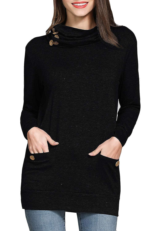 789aa54be48a7f RJXDLT Womens Long Sleeve Tunics Shirts Button Cowl Neck Slim Tunic Tops  Soft Pockets at Amazon Women's Clothing store: