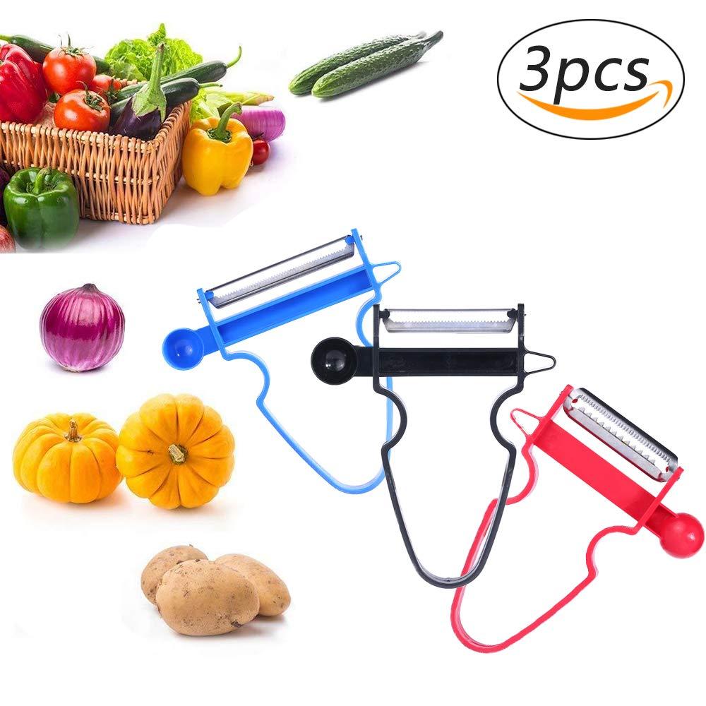 Magic Peeler Slicer Multifunction Magic Trio Peeler Slicer Shredder Vegetable Fruit Potato Cutter Kitchen Tools with Free Stainless Steel Onion Holder Slicer (3pcs) Suces
