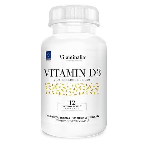 Vitamina D3 | Dosis Diaria 4000IU (Colecalciferol) | Suplementación para 1 Año | Salud Articular y Función Hormonal | Calidad de Vitaminalia: Amazon.es: ...