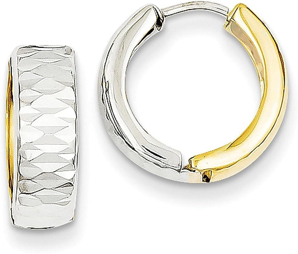 Lex /& Lu 14k Two-tone Gold Textured Hoop Earrings LAL91015