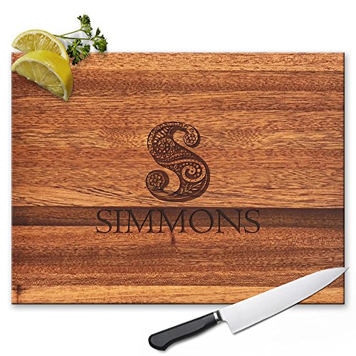 Froolu Designer Monogram personalized cutting boards wooden for Name Engraved Christmas Gifts