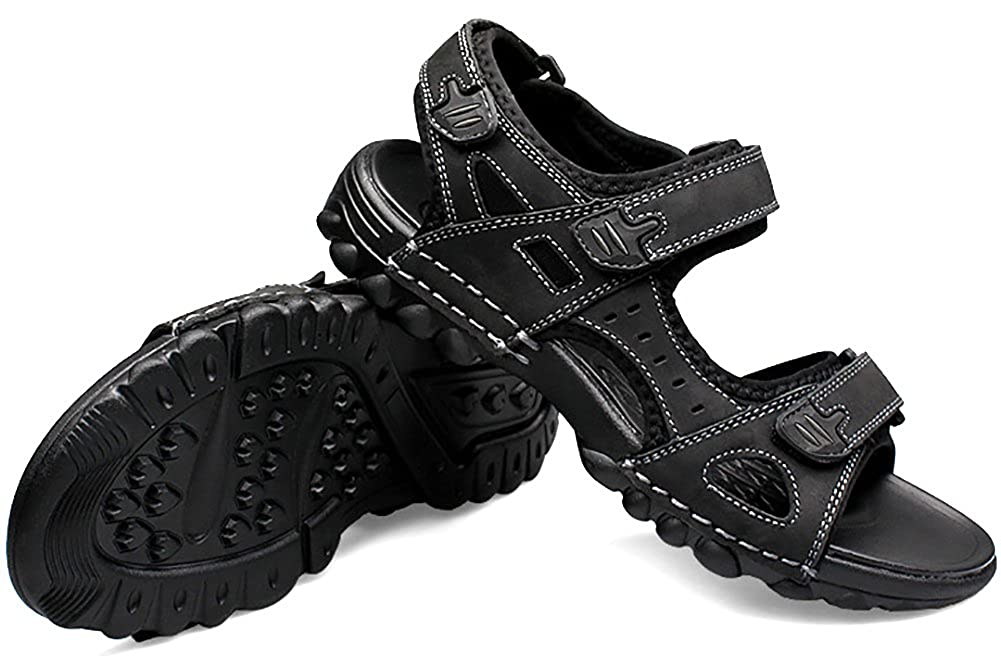 Odema Men Soft Footbed Leather Sandals Comfortable Open Toe Slippers for Summer Outdoor Walking