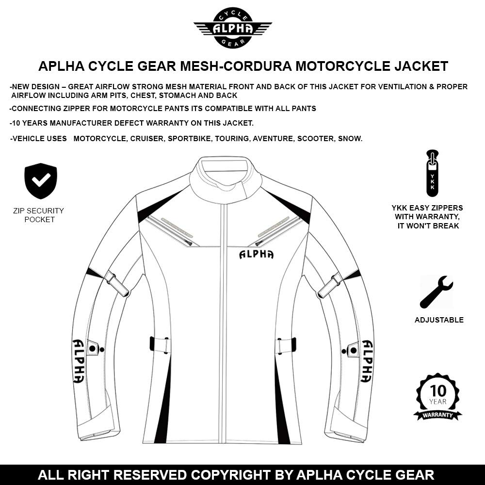 BLACK//WHITE, 2X-LARGE ALPHA CYCLE GEAR ALL SEASON WOMEN MOTORCYCLE JACKET WATERPROOF RIDING WITH CE ARMOUR