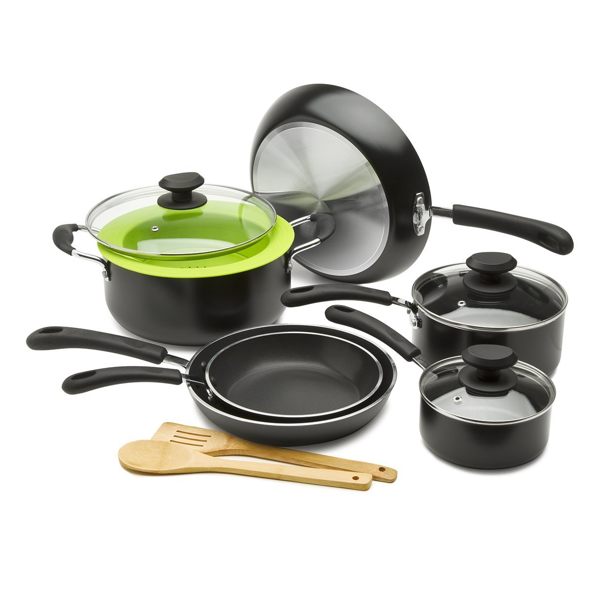 Ecolution Nonstick Cookware Set, 12 Piece - Heavy Weight, Includes Vented Lids, Steamer, Bamboo Cooking Utensils, Black 12 Piece - Heavy Weight Black Epoca Inc. EHWB-1212