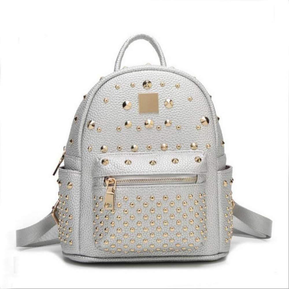 Small silver Women Backpack Ladies Rivet Leather Backpack Women AntiTheft Waterproof Leisure Travel Wallet School Bag, Small Silver