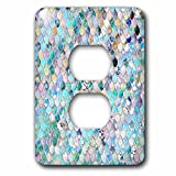 3dRose LSP_275455_6 Image of Small Blue Teal Luxury Elegant Mermaid Scales Glitter Plug Outlet Cover,