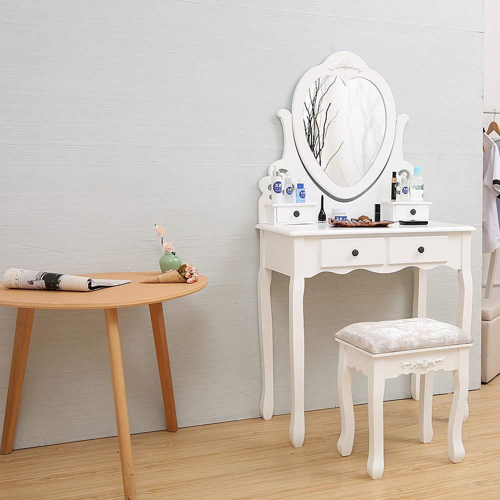 Wefun Coiffeuse Table de Maquillage avec Miroir Pliant,1 Grand Tiroir de Rangement,avec Tabouret,Blanc