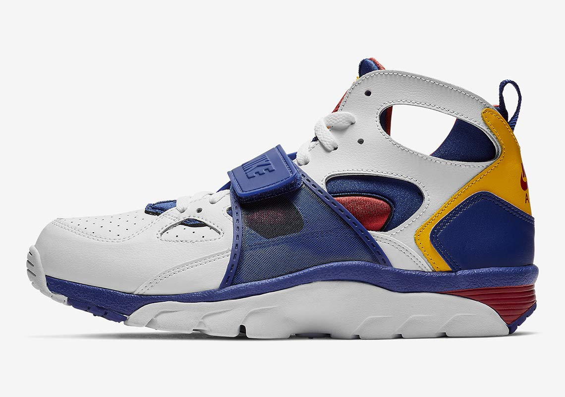 best service 67eed e0948 Galleon - Nike Men s Air Trainer Huarache White Regency Purple Amarillo  Leather Basketball Shoes 13 M US