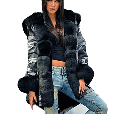 83e841ea99e Amazon.com  JOFOW Womens Coats Jackets Plus Size Camo Fuzzy Faux Fur Hooded  Cuff Casual Loose Warm Parkas Autumn Winter  Clothing