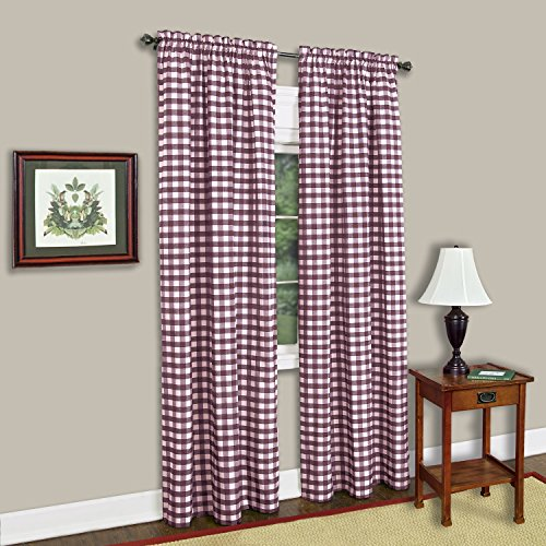 Curtain Panels Red Gingham (Buffalo Check Plaid Gingham Custom Fit Window Curtain Treatments By GoodGram - Assorted Colors, Styles & Sizes (Single 63 in. Panel, Burgundy))