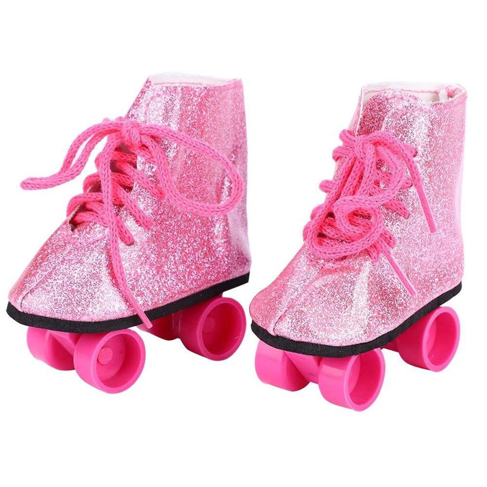 LNIMIKIY Patines Ruedas Juguetes Accesorio Mini Zapatos Regalo Cute Glitter Entertainment Skateboard Cumplea/ños Beb/é Botas Hielo Ni/ñas Moda para mu/ñecas Americanas 18 Pulgadas Blanco y Negro