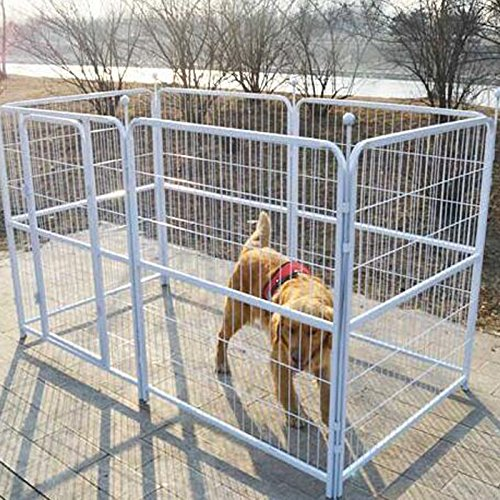 Indoor Outdoor Kennel (Paw Essentials Heavy Duty Pet Play and Exercise Pen with 6 Panels for Medium to Large Dogs - 37 x 39in each Panel, (White))