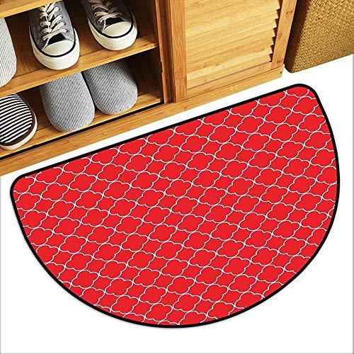 (DILITECK Pet Door mat Arrow Arabesque Style Motifs Oriental Royal Red Floral Petal Pattern Moroccan Print Breathability W30 xL18 Vermilion White)