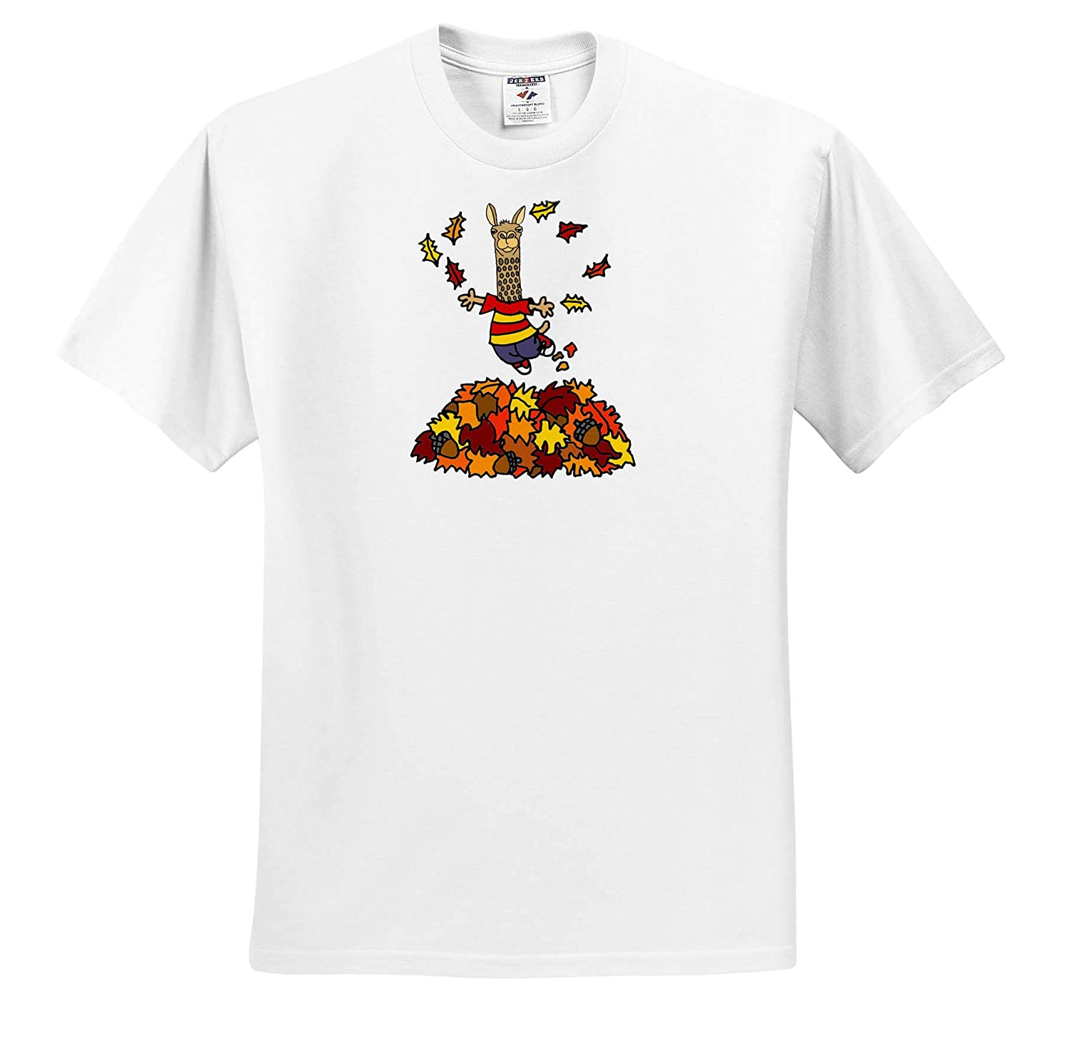 Cute Funny Llama Jumping in Leaf Pile Cartoon Funny 3dRose All Smiles Art T-Shirts