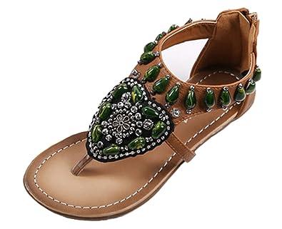 Aisun Damen Bohemian Perlen Blumen Reißverschluss Zehentrenner Flach Sandale Braun 40 EU 4Ntaz15zP