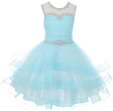 7e994ea79 Little Girl Gorgeous Beaded Rhinestones Pageant Gown Party Flower Girl Dress  Blue 4 CC 5050