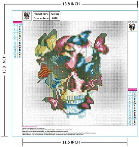 13.8x13.8inch HERFUNNER 5D Diamond Painting Kit for Adults Full Drill Rhinestone Embroidery Cross Stitch Arts Crafts Painting by Numbers for Kids Home Wall Decor Skull Theme