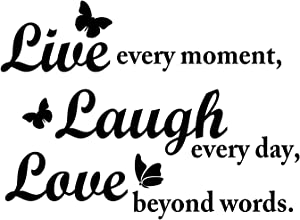Live Laugh Love Wall Decal Inspirational Quote with Butterflies. Perfect Inspiring Art Decor for Family, Living Room, Bedroom. Our Vinyl Wall Decals are Made in The USA! - Black