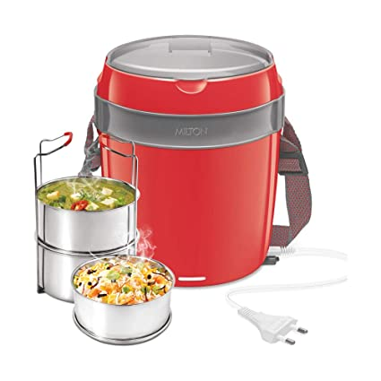 Milton Futron Stainless Steel Electric Lunch Box,  3 Containers , Red Lunch Boxes