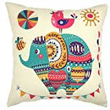 YOUR SMILE Circus Elephant Cotton Linen Square Decorative Throw Pillow Case Cushion Cover 18x18 Inch(44CM44CM) (Color#210)