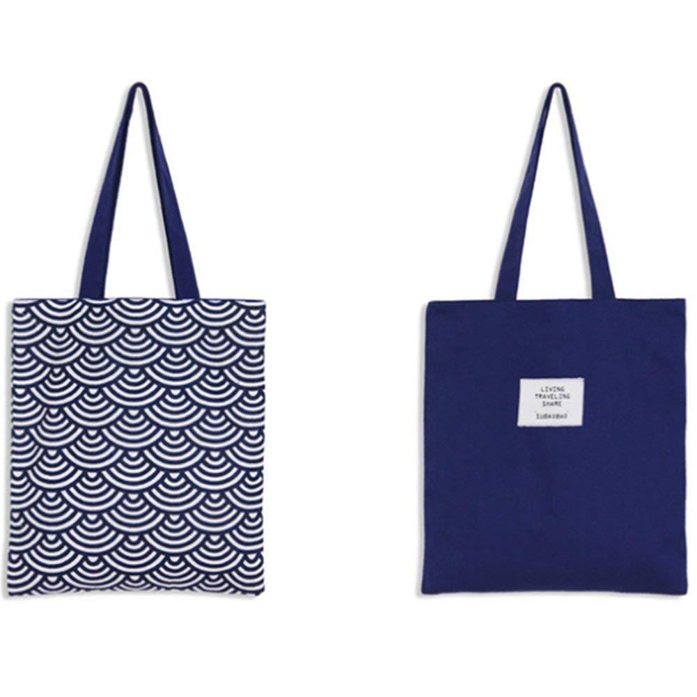 Lovinda Damen Leinwand Einkaufstaschen Xiangyun Shopping Handtasche eine umweltfreundliche Einfarbiger Stofftasche Blau
