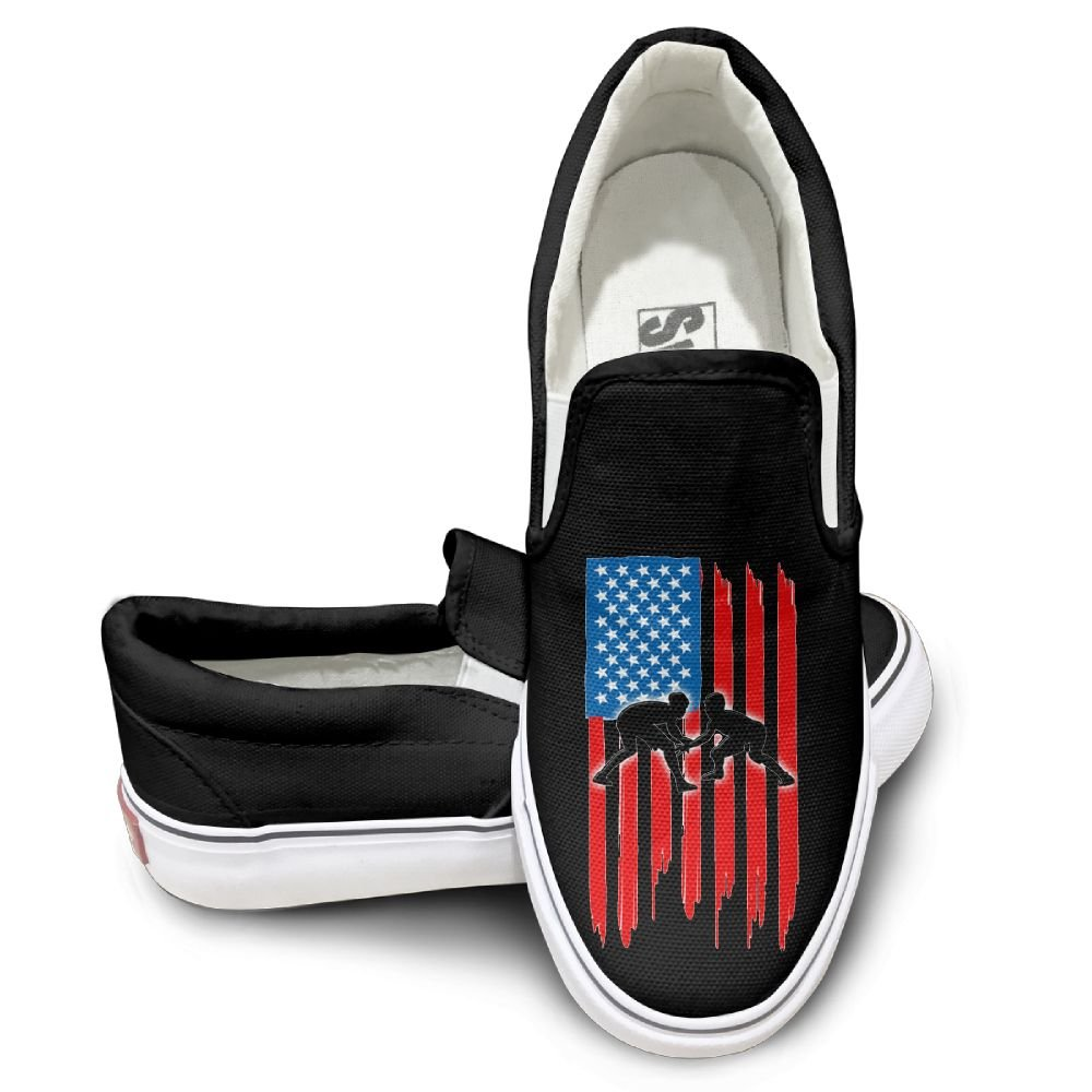 SH-rong American Flag Wrestling Unisex Canvas Sneakers Shoes Size 38 Black