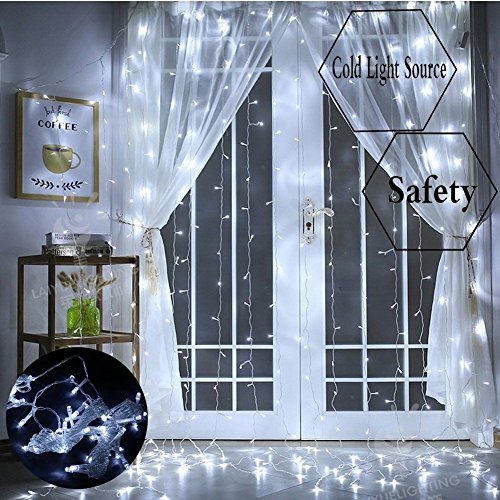 Window Curtain Lights, 300 LED,9.8ft x 9.8ft, 8 Modes Linkable, Waterproof Icicle Fairy Lights,Christmas String Light for Wedding Christmas Holiday Home Patio Bedroom Decoration - Cool White by Unknown (Image #3)