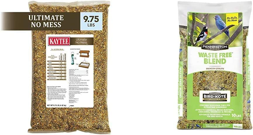 Kaytee Ultimate No Mess Wild Bird Food, 9.75 lb & Pennington Pride Waste Free Blend Wild Bird Seed, 10 lb
