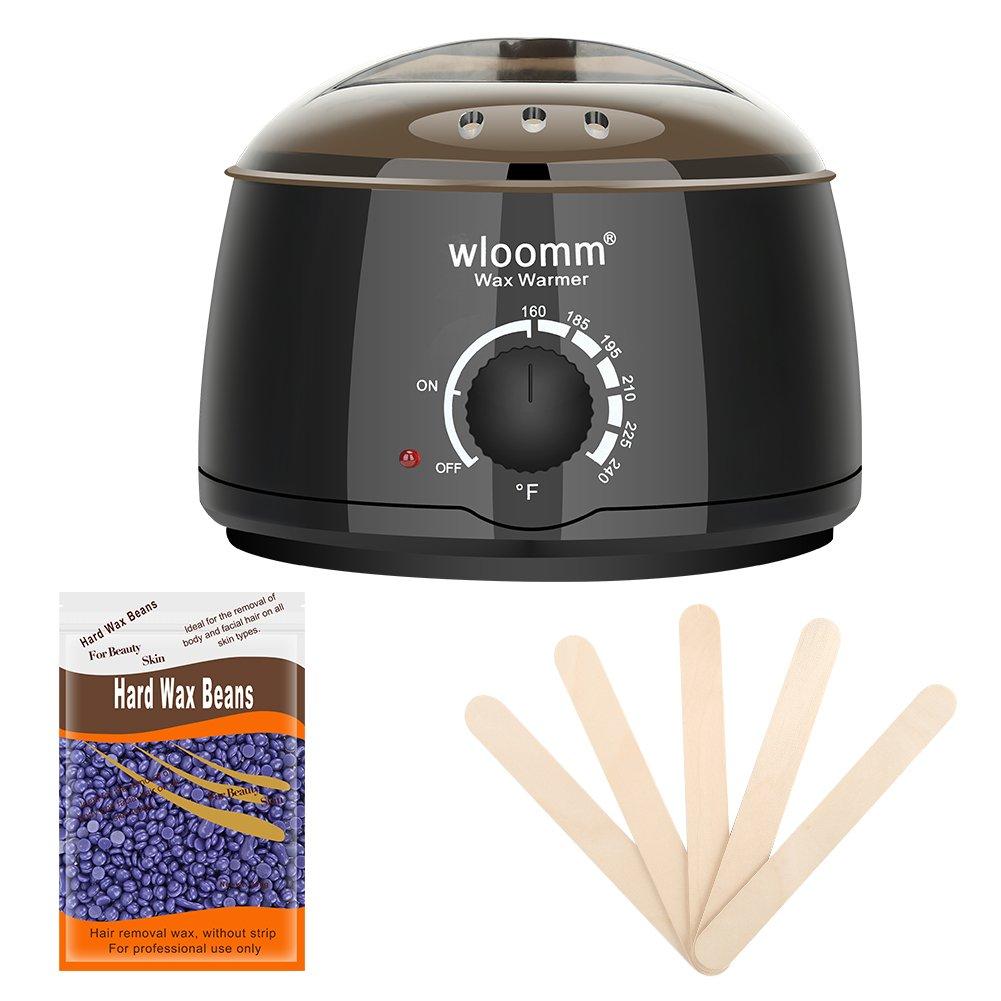 Wax Warmer Kit Wloomm 14oz Electric Hot Wax Warmer Hair Removal with 300g Hard Wax Beans and 5pcs Wax Applicator Sticks for Men & Women (Black) WW02K-B