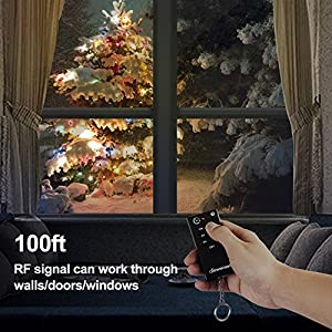 Dewenwils Outdoor Remote Control Light Timer with Countdown, Waterproof Heavy Duty Timer Switch with 2 Grounded Outlets, 100feet Range, for Lights/Fountains/Electrical Outlets, 15Amp, UL Listed